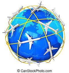viaggio internazionale, concetto, aria
