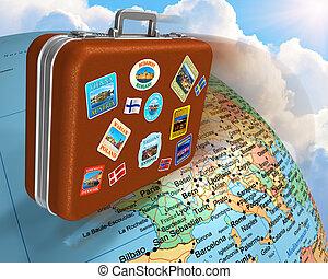 viaggio mondo, intorno, concetto
