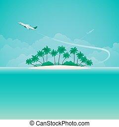viaggio, stile, copyspace, appartamento, viaggiare, tropicale, vettore, aeroplano, bandiera, o