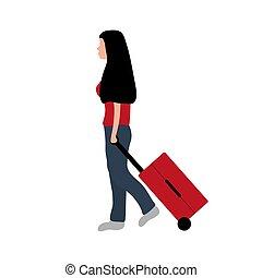 viaggio, valigia, disegno, donna, vacation., cartone animato, appartamento, turista, va, vettore, illustrazione