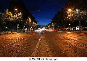 viale, trionfale, notte, francia, parigi, champs-elysees-elysees, arco, fondo