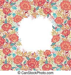 vibrante, cornice, fiori, bordo, colorito