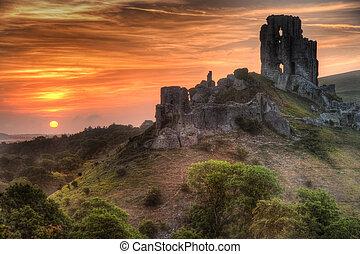 vibrante, luminoso, alba, castello, rovine, paesaggio