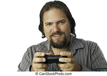 video, controllore, gioco, isolato, uomo