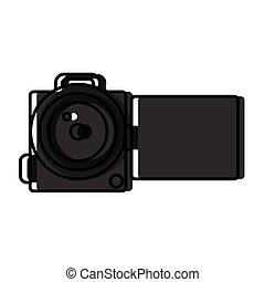video, isolato, macchina fotografica, icona