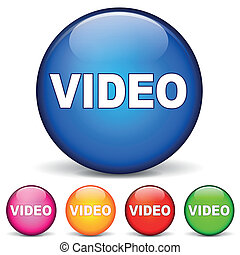 video, rotondo, icone