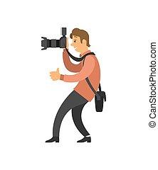 videographer, foto, presa, registrazione, macchina fotografica, video