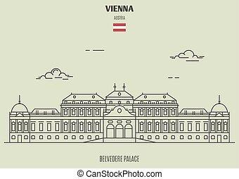vienna, palacel, belvedere, punto di riferimento, austria., icona