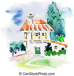 vigneto, paesaggio, acquarello, dipinto