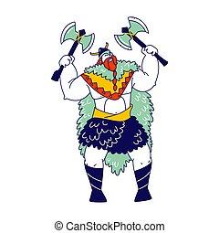 viking, armatura, barba, maschio, legends., isolato, nordico, scandinavo, casco, fondo., personaggio, carattere, vettore, guerriero, illustrazione, indossare, presa a terra, pelle, corna, bianco, asce, tressed, lineare