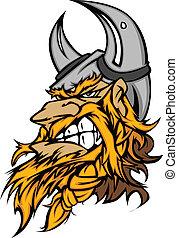 viking, testa, cartone animato, mascotte