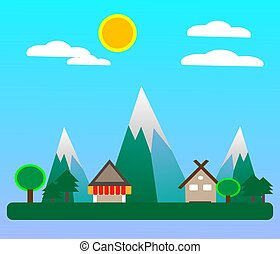villagein, primavera, appartamento, stagione, disegno