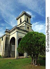 villaggio, asiatico, chiesa