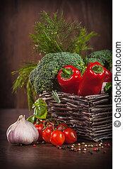 vimine, crudo, cesto, verdura