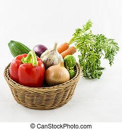 vimine, verdura, basket.