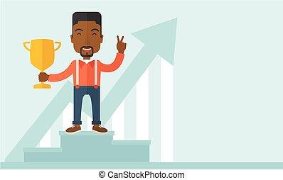 vincente, africano, uomo affari, podio