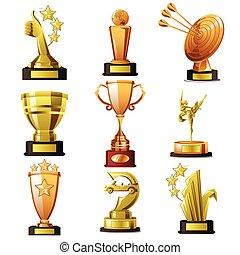 vincente, oro, progetta, trofeo