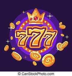 vincere, illustrazione, volare, casinò, monete, fondo, 777, viola, oro