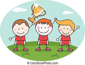 vincitore, bambini, squadra