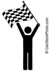 vincitore, -, bandierina checkered, bastone, manwaving
