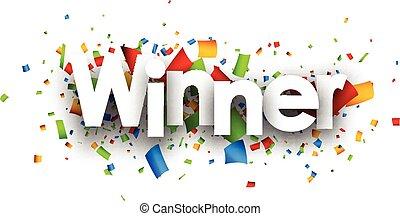 vincitore, carta, banner.