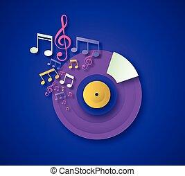vinile, cd, taglio, concetto, musica, nota carta
