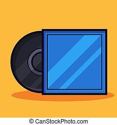 vinile, coperchio, disco, vettore, illustrazione