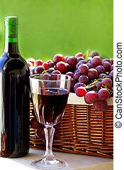vino, bottiglia vetro, uva, vino rosso