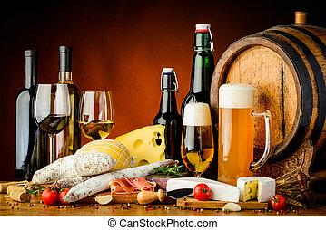 vino, cibo, birra