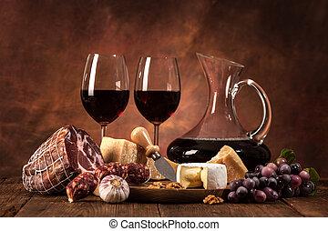 vino, formaggio, vita, ancora, salsicce