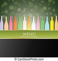 vino, menu, vettore, coperchio