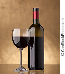 vino vetro, bottiglia, pieno, rosso