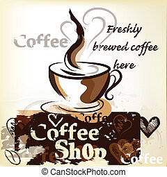 vintag, manifesto, grunge, negozio caffè