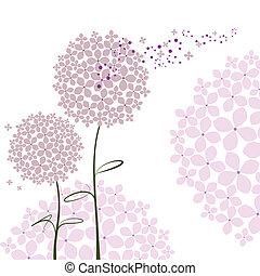 viola, astratto, fiore, ortensia, primavera