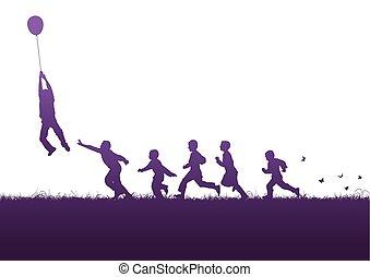 viola, balloon, sopra, bambini
