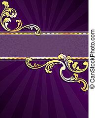 viola, bandiera, oro, verticale