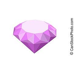 viola, bianco, diamante, isolato, fondo