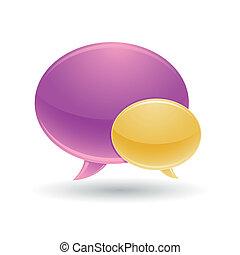 viola, bolla, chiacchierata, giallo, icone