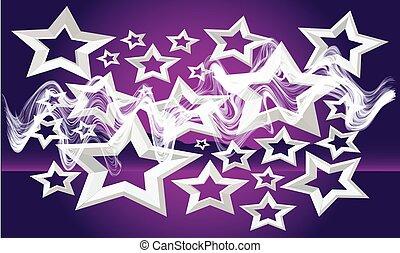 viola, collezione, onde, stelle, fondo