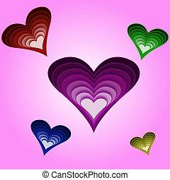 viola, cuori, sfondo colorato