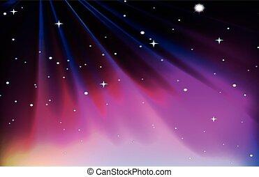 viola, disegno, cielo, sfondo rosso