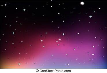 viola, disegno, cielo, stelle, fondo