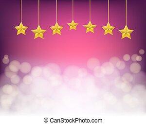 viola, dorato, corde, fondo, stelle