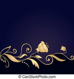 viola, dorato, ornamento, fondo, floreale