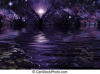 viola, fantasia, profondo, paesaggio