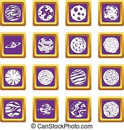 viola, fantastico, set, pianeti, icone