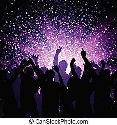 viola, festa, fondo, folla, stelle