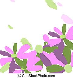 viola, fiori bianchi, fondo