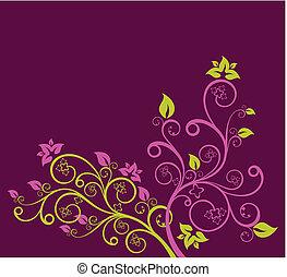 viola, floreale, vettore, verde, illustrazione