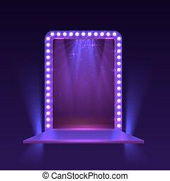 viola, luce, podio, mostra, fondo.